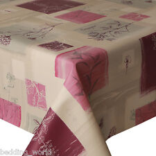 PVC TABLE CLOTH BASILIC PURPLE LILAC GREY FRENCH TEXT FLORAL WIPEABLE PROTECTOR