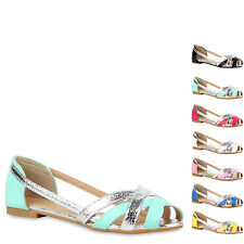 Modische Damen Sandalen Riemchensandalen Cut-outs Metallic 810984 New Look
