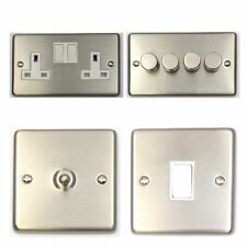 Brushed Stainless Steel CSSW Light Switches, Plug Sockets, Dimmers, Cooker, Fuse