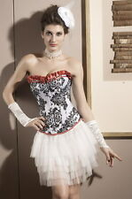 Women's Black & White Floral Corset with Red Detailing Overbust Basque Lingerie