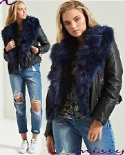 NEW Womens LADIES FAUX FUR LEATHER BIKER JACKET Crop Ladies Coat Size 8-16 URBAN