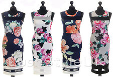 Ladies Mesh Insert Floral Print Bodycon Dress Women Midi Dress