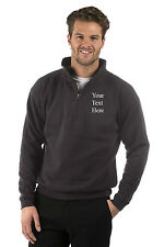 Embroidered Mens/Ladies Graphite Half Zip Sweat Jacket,Text,Name,Company Logo