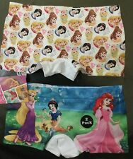 Girls 2 pk Shorts style Briefs with Disney Snow White, Ariel and Rapunzel