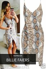 Women's Ladies Celeb Billie Faiers Snake Skin Print Asymmetric Strappy Dress