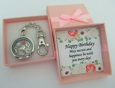 Personalised BIRTHDAY Gifts Floating Memory Locket Keyring 16th 18th 21st 30th