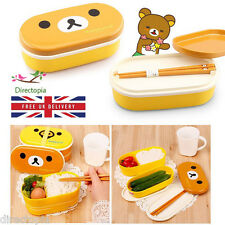 2 Tier Bear & Duck Cute Lunch Box Bento with Chopsticks Japan Packed Lunch Snack