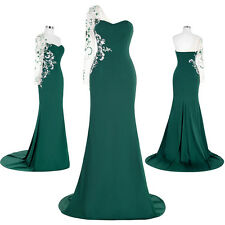 New Women Asymmetrical Shoulder Formal Evening Gown Slit Prom Ball Party Dresses