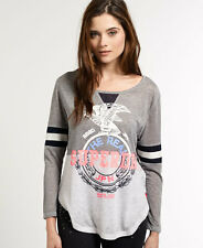 New Womens Superdry Mix Mash Top Grey Marl
