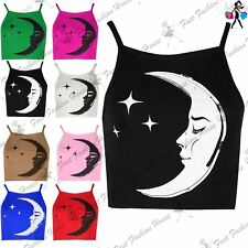 Womens Bralet Cami Moon Stars Spaghetti Strap Sleeveless High Neck 90S Crop Top