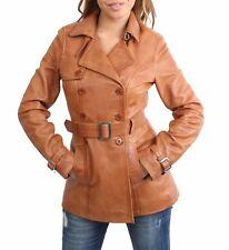 Womens Trench Leather Jacket TAN Fitted Double Breasted Reefer Mid Length COAT