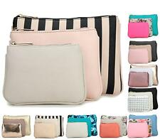 Ladies Girls Zip Pouch Pencil Case 3 IN 1 Make Up Cosmetic Fashion Purse Bag