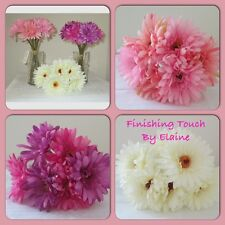Pink  Short Stem Silk Gerbera x 6 per bunch Wedding bouquets Floral Display