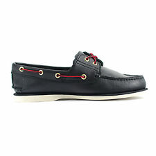 Timberland Classic 2 Eye Smooth Black Leather Boat Men Shoe (1005R)