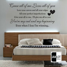 John Legend All Of Me Love Song Music Lyrics Quote Sticker Wall Art Vinyl