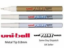 UNI-BALL UNI PAINT EXTRA-FINE PX-203 PX203 MARKER -WHITE GOLD SILVER (PACK OF 3)