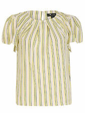Cutie Womens Ladies Yellow Striped Pleated Top Short Sleeve Round Neckline