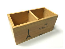 Wood Wooden Desk Organizer, Desktop Office Pen Pencil Holder 2 Compartment