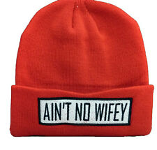 Ain't No Wifey Beanie Wooly Hat  SnapBack 6 Colours Red Black Burgundy Navy Grey