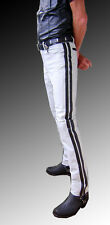 Lederhose weiss neu Police Style Lederjeans LEDERFUTTER gay leather pants white