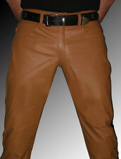 Lederhose Police Style Lederjeans braun OHNE Knienaht gay leather pants brown