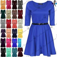 Womens Belted 3/4 Short Sleeves Flared Franki Party Mini Top Ladies Skater Dress