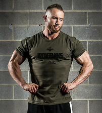 MENS IRON TANKS GYM BODYBUILDING TRAINING MUSCLE T SHIRT TOP T Y BACK #012