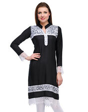 Yogalz Women Black Rayon Designer Casual Party Wear Girls Kurti KRT6037-Blk