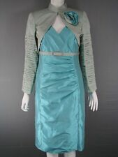 MICHEL AMBERS/FRANK USHER GREY & BLUE SILK BOLERO JACKET & DRESS SUIT SIZE 12-22