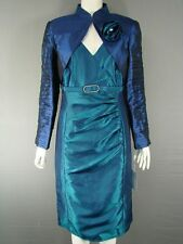 MICHEL AMBERS/FRANK USHER NAVY & BLUE SILK BOLERO JACKET & DRESS SUIT SIZE 16&18