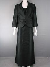 MICHEL AMBERS/FRANK USHER PURE SILK BLACK JACKET, TOP & SKIRT SUIT SIZES 16-24