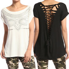 TheMogan Owl Studded Front Cross Open Back Roll Up Short Sleeve T-Shirts