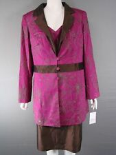 MICHEL AMBERS SILK 3 PIECE COFFEE/MAROON LONG JACKET, TOP & SKIRT SUIT SIZE18-24