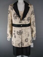 MICHEL AMBERS SILK 3 PIECE YELLOW & BLACK LONG JACKET,TOP & SKIRT SUIT SIZE18-24