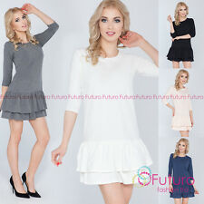 Womens Cotton Tiered Mini Dress Stretchy 3/4 Sleeve Crew Neck Size 8-10 FT2716