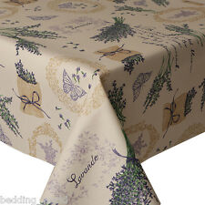 ACRYLIC COATED TABLE CLOTH LAVENDER BUTTERFLY FLORAL PURPLE WIPEABLE  PROTECTOR