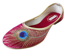 TRADITIONAL HANDMADE LEATHER WOMEN SHOES FOOTWEAR MOJARI RED KHUSSA JUTTI