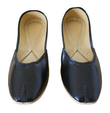 HANDMADE WOMEN SHOES BLACK LEATHER TRADITIONAL INDIAN JOOTI INDIA SIZE 5-11