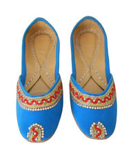 WOMEN SHOES HANDMADE LEATHER JOOTI FLIP FLOPS SKYBLUE JUTTI MOJARI KHUSSA NEW