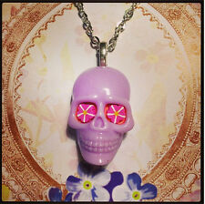Sugar Candy Skull Day of the Dead Charm Necklace Gothic Rockabilly Halloween