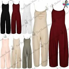 Womens Strappy Sleeveless Jumpsuit Wide Legs Ladies Loose Palazzo Pants Playsuit