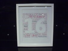 LUXURY 16th BIRTHDAY personalised WORD ART with frame mount