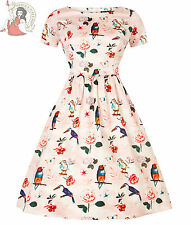 LADY VINTAGE 50s style ELOISE MACAW BIRD floral DAY DRESS PEACH