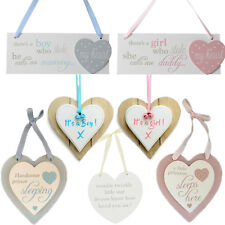 Baby Boy Girl Wooden Heart Plaques New Born Nursery Room Decoration Signs