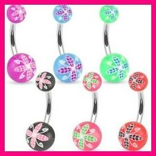 PIERCING NOMBRIL BOULES IMPRIME FLEURS BALL BELLY NAVEL RING BAR BUTTON JEWELRY