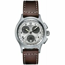 OROLOGIO UOMO HAMILTON H76412553 Khaki Aviation Crono in pelle marrone Quartz si