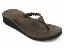 "Womens Ladies Urban Beach ""Islay"" Brown Leather Wedge Flip Flops"