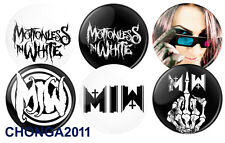 """MOTIONLESS IN WHITE MIW - X 6 - 1"""" Pinback Band Buttons  Pins  Badges Metalcore"""