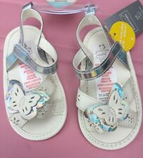 Baby Girl Silver and White Pram Sandals with Butterfly detail