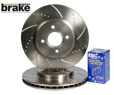 For Nissan 200SX S14 Front Evora Dimpled Grooved Brake Discs & EBC Redstuff Pads